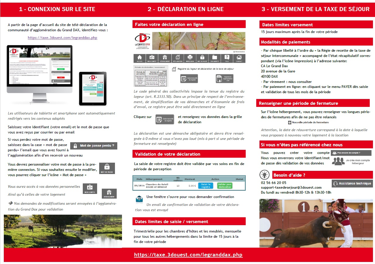 Plaquette de présentation de la taxe de séjour aux hébergeurs pour Le Grand Dax
