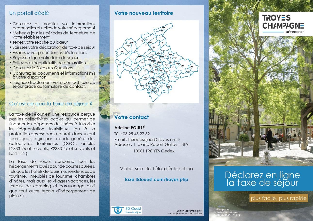 Plaquette de présentation de la taxe de séjour aux hébergeurs pour Troyes Champagne Métropole